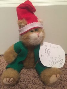 final Cat elf is ready to pin the Elf to the shelf, a new Christmas tradition